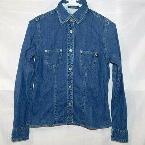 VTG 90s Tommy Hilfiger Womens S Denim Snap Shirt